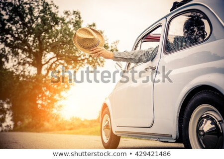 Young couple with cabriolet car in spring Stock photo © Kzenon