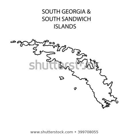 Sziluett térkép dél Grúzia felirat fehér Stock fotó © mayboro