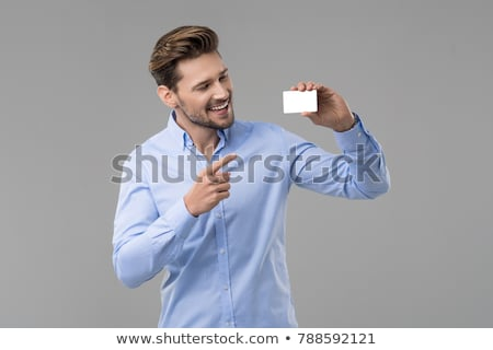 Stock photo: Happy Businessman Holding Visiting Card