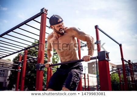 вид · сзади · молодые · мужчины · Культурист · веса - Сток-фото © dolgachov