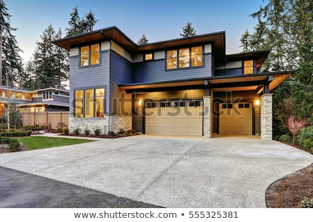 large gray modern house and garage stock photo © iriana88w