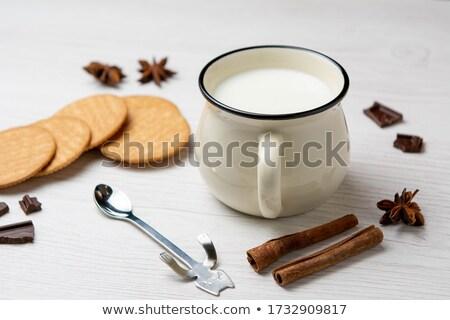 Kahve çekirdekleri esmer şeker tarçın ışık ahşap masa Stok fotoğraf © ironstealth