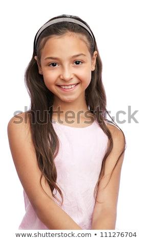 茶色の髪 少女 孤立した 白 女性 顔 ストックフォト © Elnur