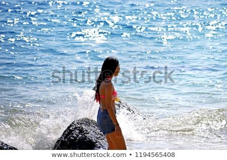 красивой молодые сексуальная женщина купальник позируют короткий Сток-фото © NeonShot