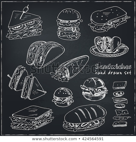 Hotdog ikon rajzolt kréta kézzel rajzolt iskolatábla Stock fotó © RAStudio