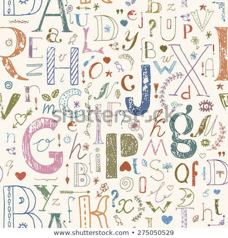 Hand Drawn Lowercase Letters Seamless Pattern Colorful Stock photo © Voysla