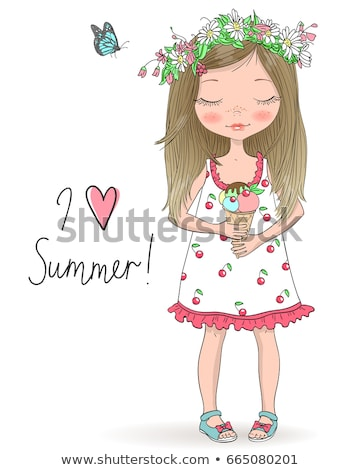pretty Little Girl and Young Women in hand sweet cherries on pic Stock photo © Paha_L