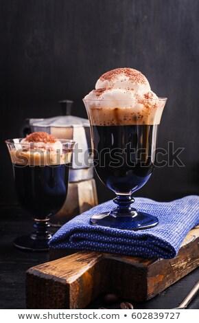csésze · kávé · fahéj · fekete · csokoládé · közelkép - stock fotó © netkov1