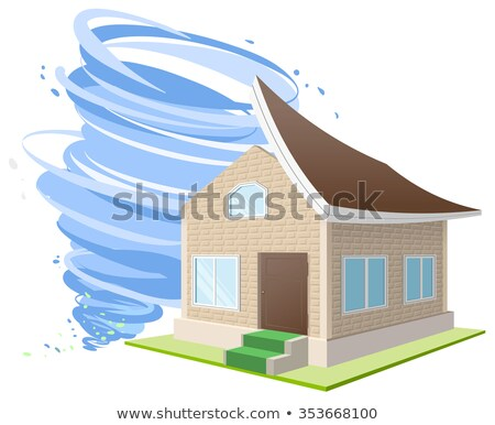 Hurricane winds blew roof off house. Property insurance Stock photo © orensila