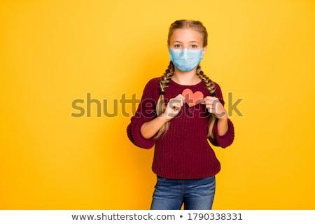 Stok fotoğraf: Kız · kırmızı · kalp · tatlı · çocuk · mutlu