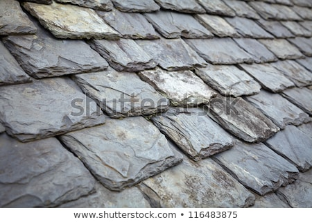 rows of old gray roof slates close up stock photo © latent