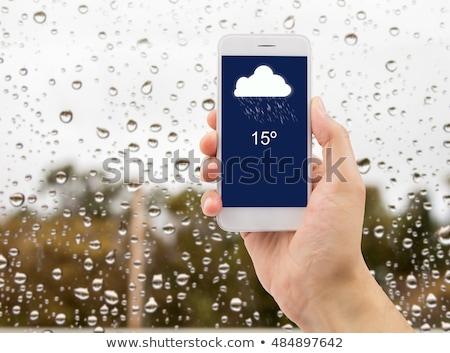 Iconen tonen weer prognose witte achtergrond Stockfoto © bluering
