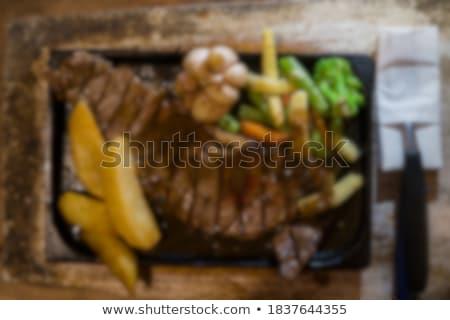 Stockfoto: Strips · rundvlees · string · bonen · groene · bonen · blad