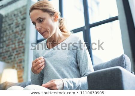 Ilustração menina mulheres alegria dor de cabeça despreocupado Foto stock © adrenalina