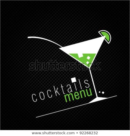 Zöld martinis pohár izolált fehér ital koktél Stock fotó © ozaiachin