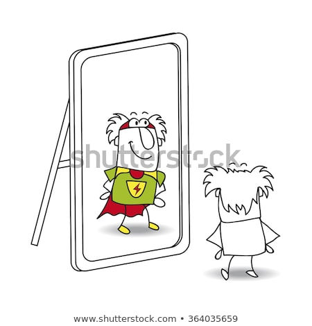 The mirror and Grandfather superhero Stock photo © tintin75