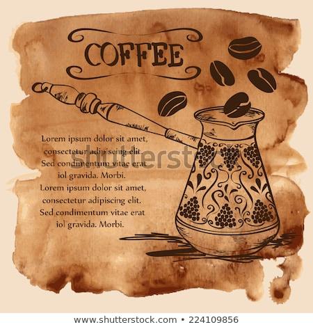 vízfesték · kávé · kávé · izolált · fehér · kézzel · rajzolt - stock fotó © TrishaMcmillan