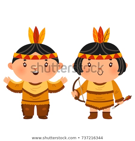 funny couple indian tribal cartoon Stock photo © jawa123