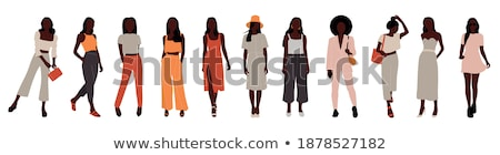 vector set of cartoon business formal dressed women isolated on white background showing ok sign ges stock photo © maia3000
