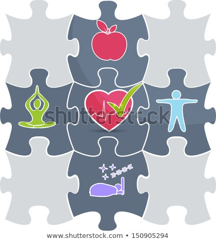Healthy living puzzle concept. Healthy food and fitness leads to Stock photo © Tefi