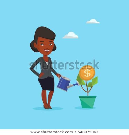 kadın · para · çiçek · Asya · işkadını - stok fotoğraf © rastudio
