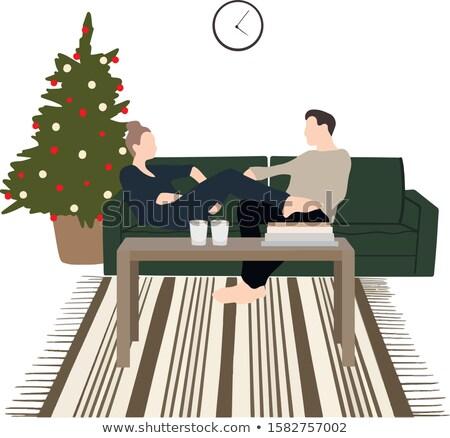 Vector cartoon style illustration of loving couple sitting on th Stock photo © curiosity