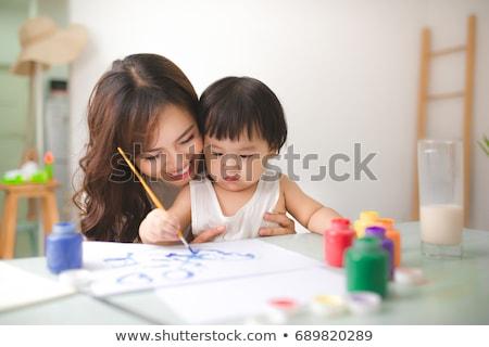 mulher · desenho · sorridente · mulher · jovem · cera · crayon - foto stock © deandrobot