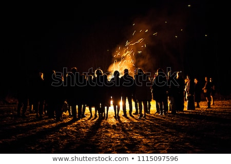 people standing around a big bonfire at night stock photo © monkey_business