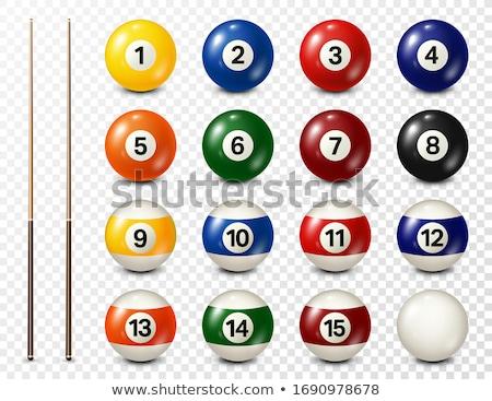 Billiard balls, cue on green table Stock photo © JanPietruszka