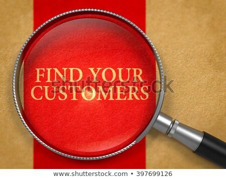 fogyasztó · viselkedés · nagyító · régi · papír · piros · függőleges - stock fotó © tashatuvango