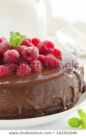 Close up of cheesecake with chocolate cream Stock photo © deandrobot