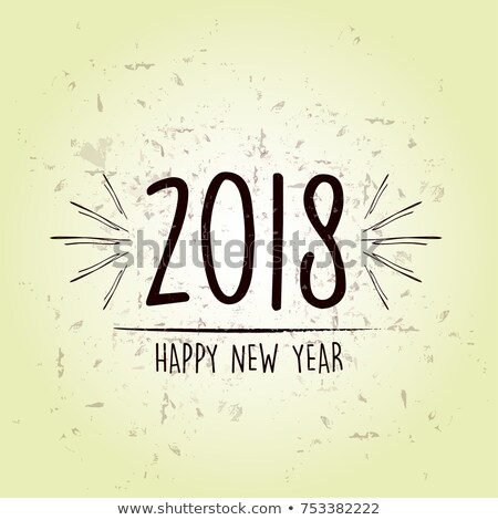 Happy New Year 2018 Over Green Old Paper Background Stockfoto © marinini