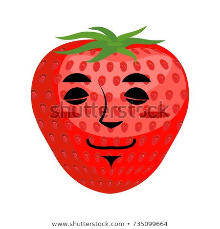 Strawberry sleep Emoji. Red berry asleep emotion isolated Stock photo © popaukropa