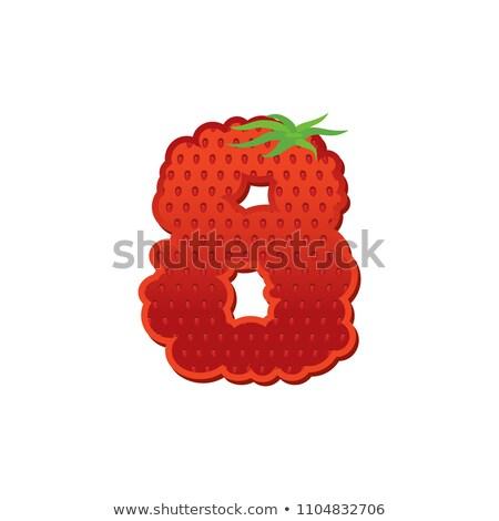 番号 イチゴ フォント 赤 ベリー 8 ストックフォト © popaukropa