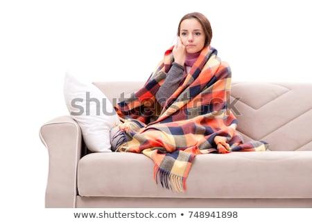 mulher · sofrimento · garganta · inflamada · mão · tocante - foto stock © elnur