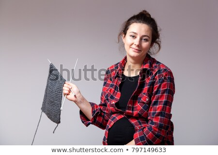 Woman finger knitting Stock photo © IS2
