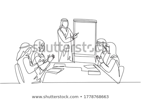 Arab hangszóró üzlet bemutató befektető tart Stock fotó © studioworkstock