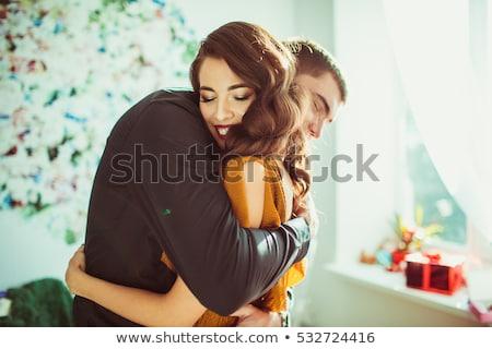 Nő tart ajándék ölel férj születésnap Stock fotó © IS2