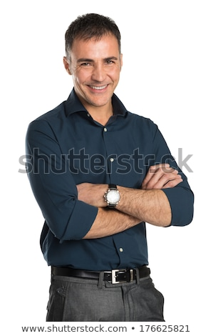 handsome smart casual man with arms crossed smiling confidently stock photo © feedough