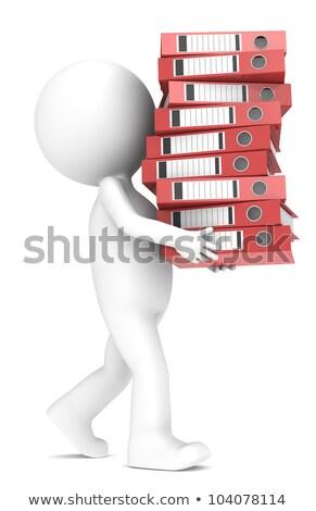 3D · fehér · emberek · túlhajszolt · akták · izolált · fehér - stock fotó © anatolym