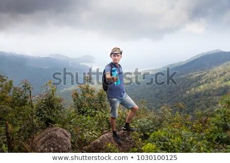 adam · gezgin · sırt · çantası · yürüyüş · üst · dağ - stok fotoğraf © Bigbubblebee99