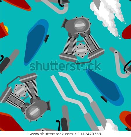 Bike Motorcycle part pattern seamless. Engine racing. Exhaust pi Stock photo © popaukropa