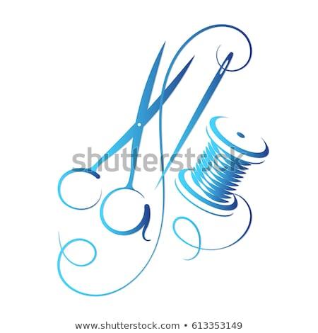 Makara mavi beyaz yalıtılmış dizayn kumaş Stok fotoğraf © OleksandrO