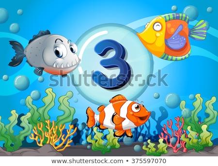 Stock photo: Three fish underwater scene