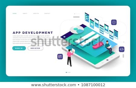 Mobil felirat felfelé izometrikus vektor bejelentkezés Stock fotó © TarikVision