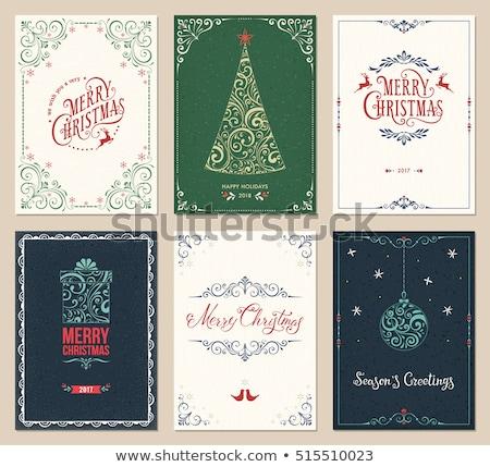 Noel tebrik kartı şablon dizayn altın Stok fotoğraf © ivaleksa