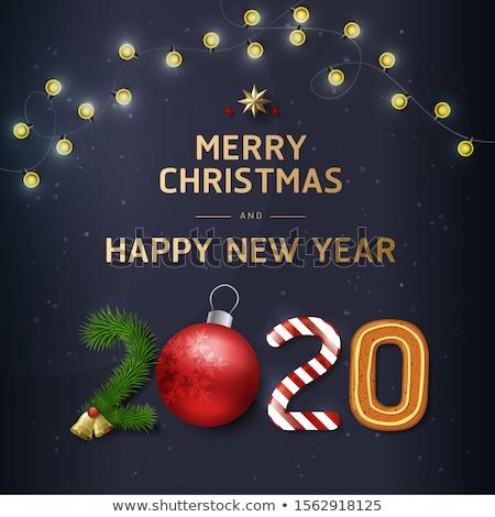 Natale capodanno oro retro pino carta Foto d'archivio © cienpies