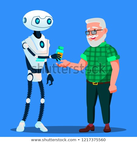 robot pharmacist doctor gives tablets pills to old man vector isolated illustration stock photo © pikepicture