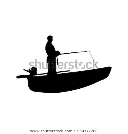 Fishing on Lake in Boat Set Vector Illustration Stock photo © robuart