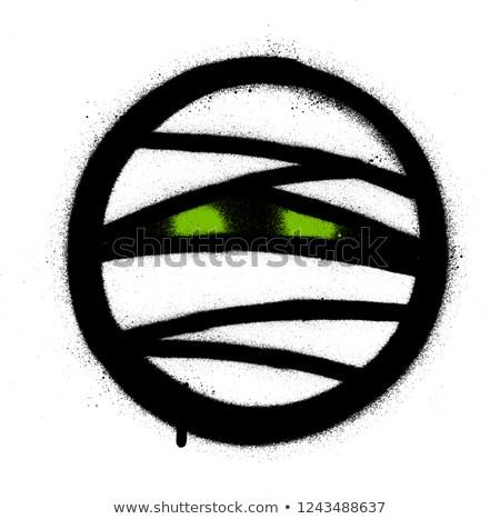 Grafite ícone verde olhos branco Foto stock © Melvin07